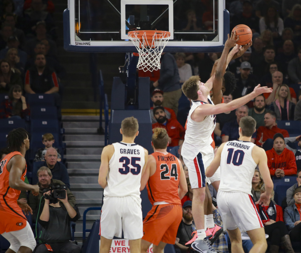Gonzaga's Drew Timme defends the rim against Pacific.