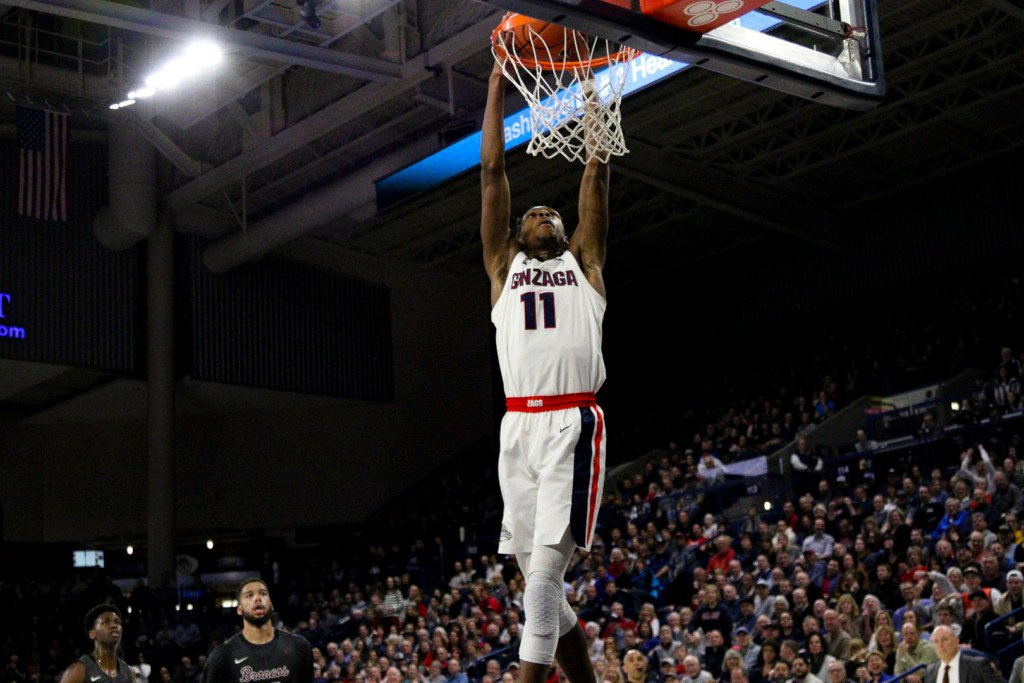 Gonzaga's Joel Ayayi (11) throws down 2 of his 19 points against Santa Clara.