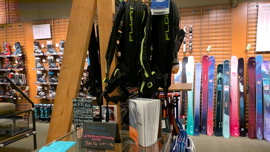 REI avalanche safety items