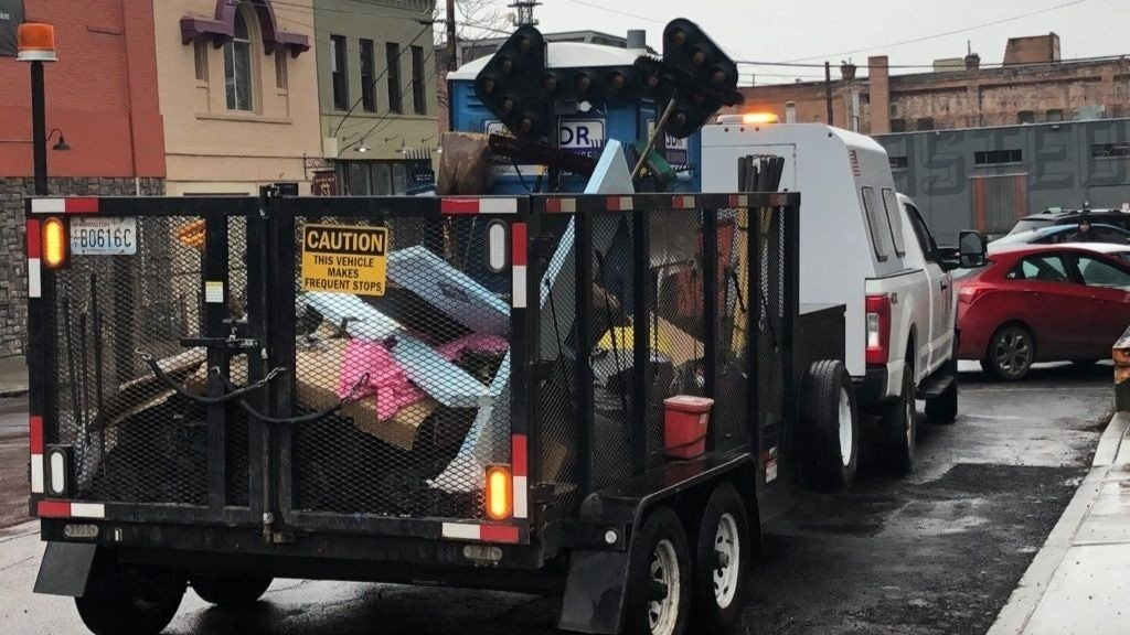 A homeless camp is cleared out by the City of Spokane