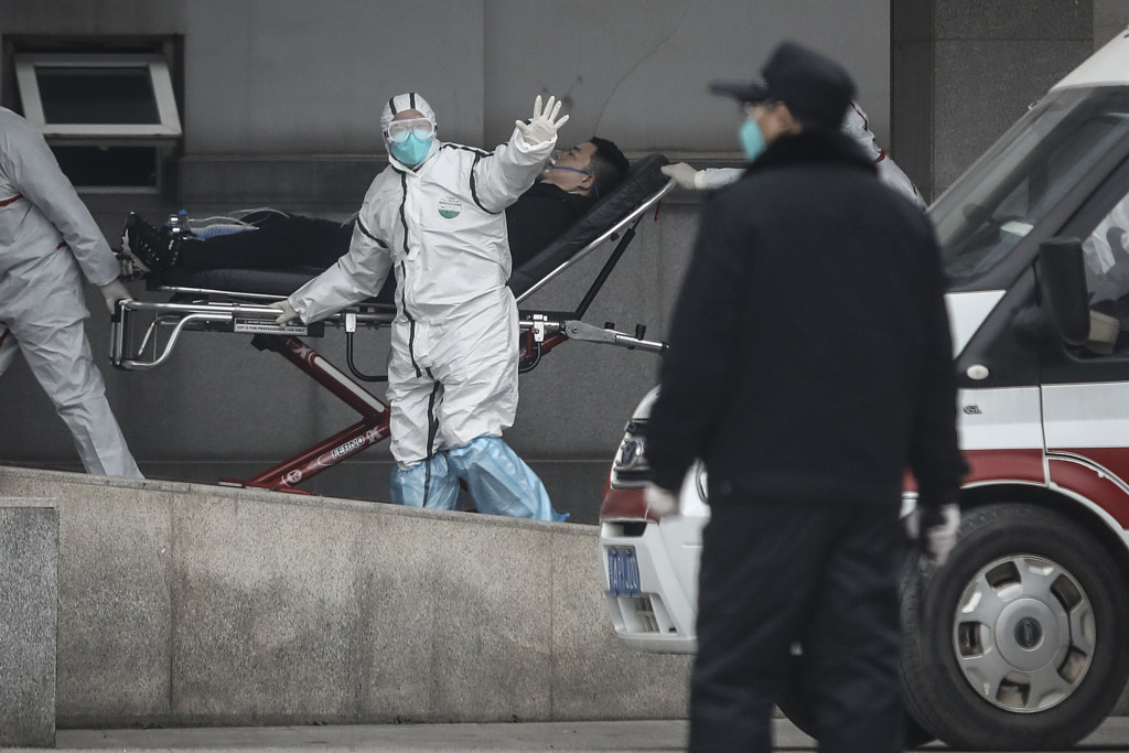 Medical staff transfer patients to Jin Yintan hospital on January 17, 2020 in Wuhan, Hubei, China. Local authorities have confirmed that a second person in the city has died of a pneumonia-like virus since the outbreak started in December.