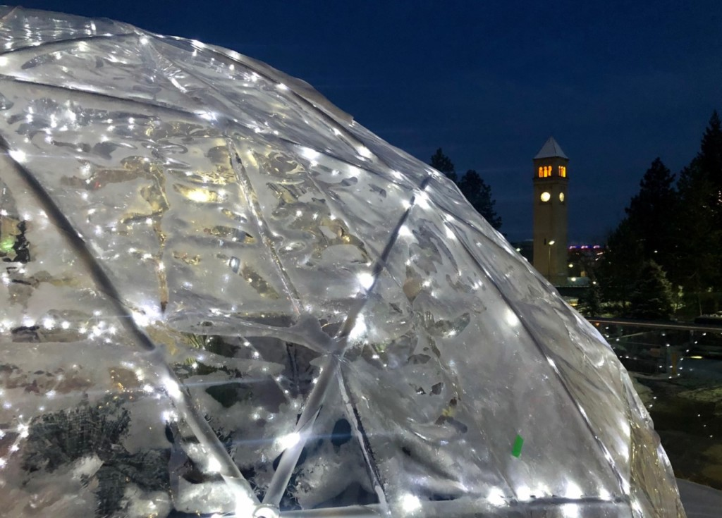 An outdoor igloo at the Davenport Grand with a fantastic view of Riverfront Park