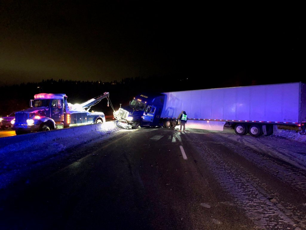 A semi-truck crash is slowing traffic east of Coeur d'Alene on I-90 at MP 17