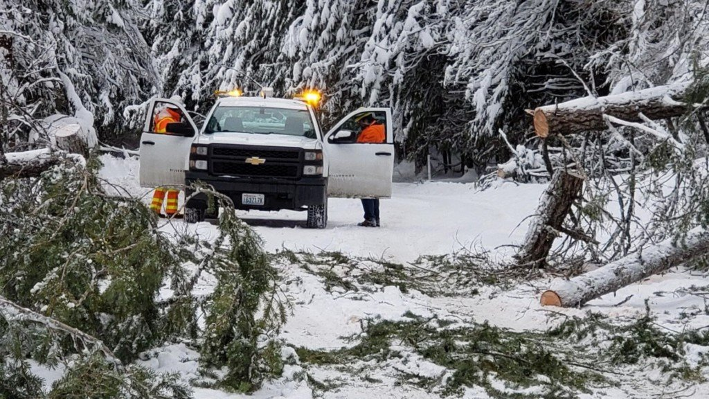 WSDOTcrews pick up fallen trees along State Rout 206 near Mt. Spokane