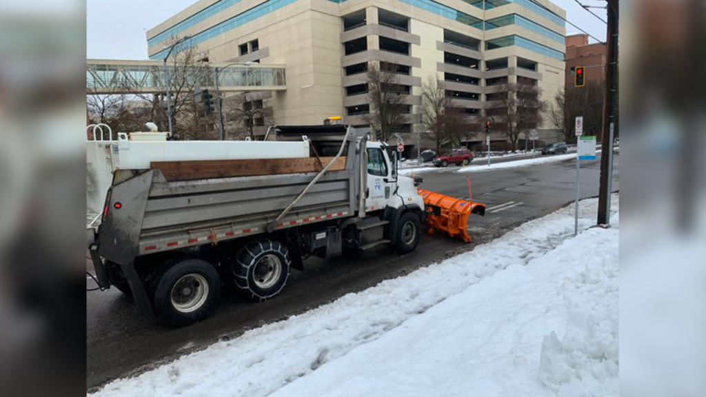 Snow plows hit Spokane streets