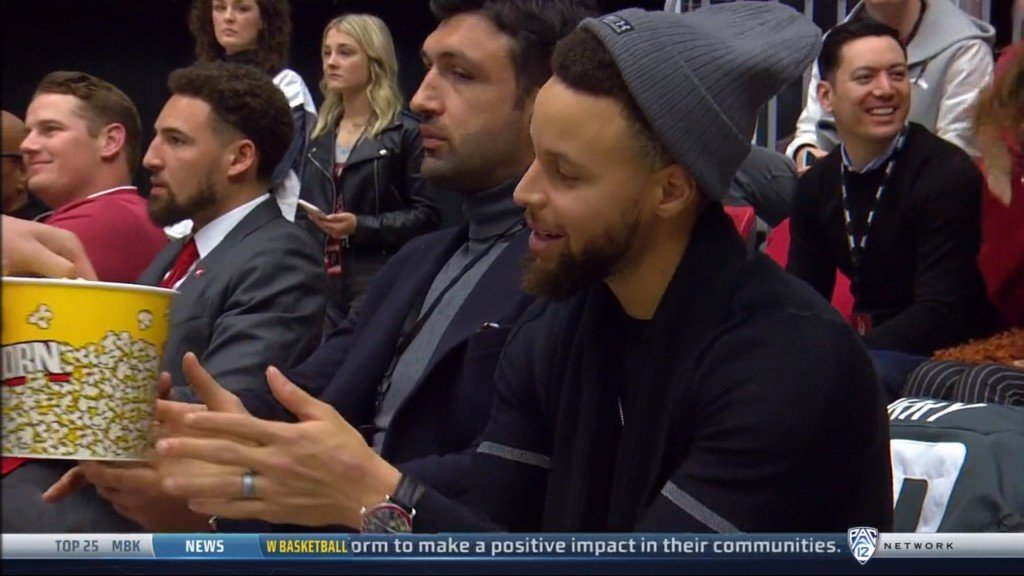 Golden State Warrior and NBA champion Steph Curry showed up for Klay Thompson's jersey retirement ceremony