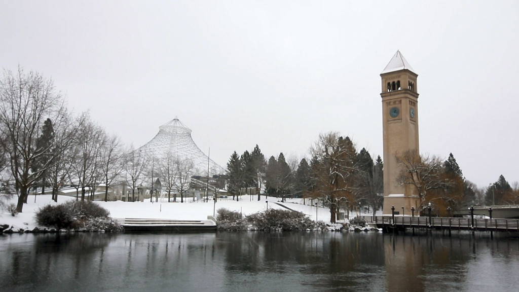 The Clocktower and U.S. Pavilion in a wintry Spokane.