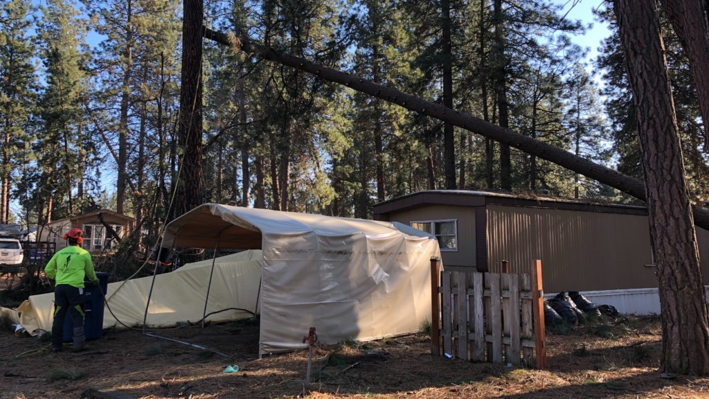 Windstorm damage at the Lucky Pines Estates