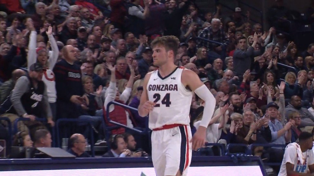 Gonzaga's Corey Kispert leaves the floor after hitting a three to end the first half.