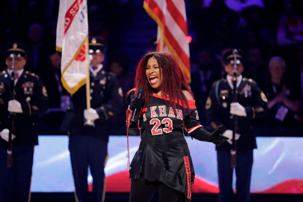 Chaka Kahn sings the national anthem at the NBA all star game