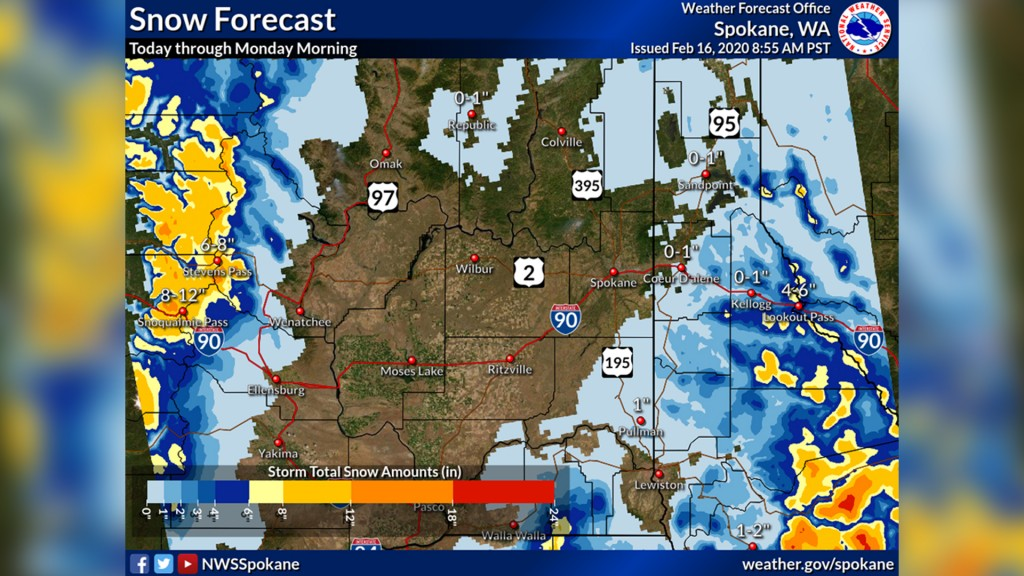 NWS map showing snowfall amounts in the Inland Northwest
