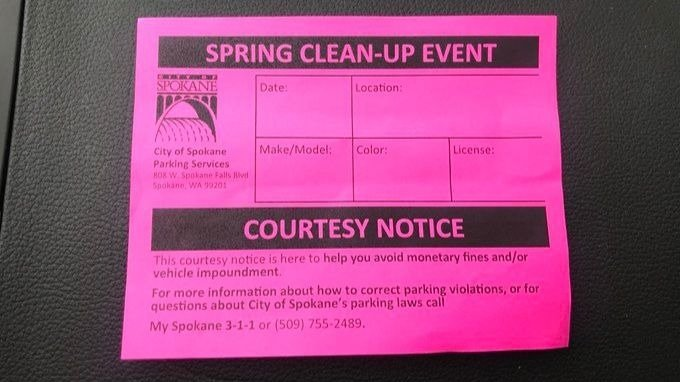 City of Spokane pink slip parking citation