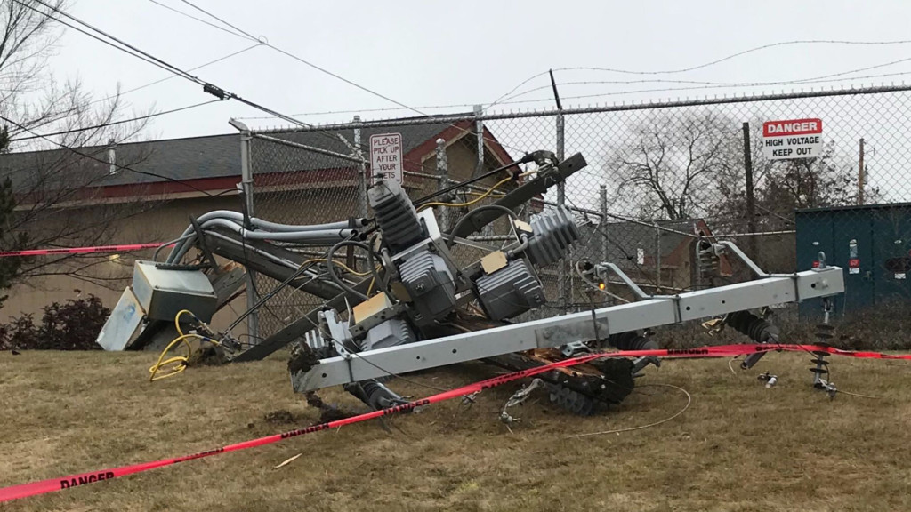 Destroyed power pole
