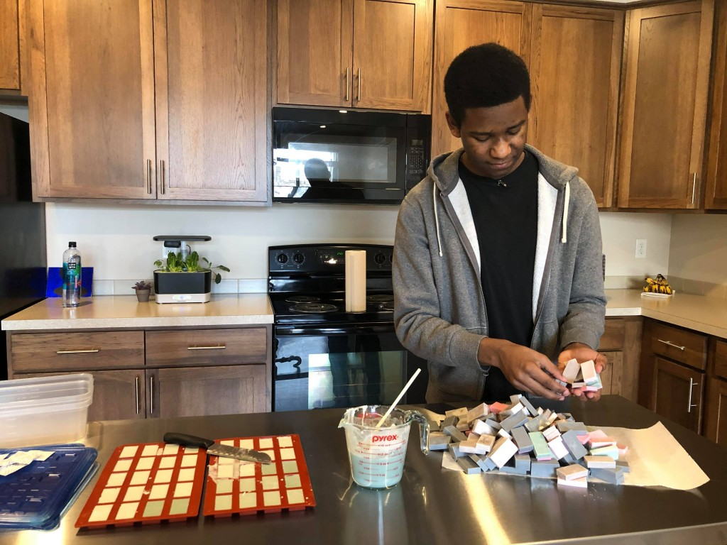 Teen makes soap from scratch