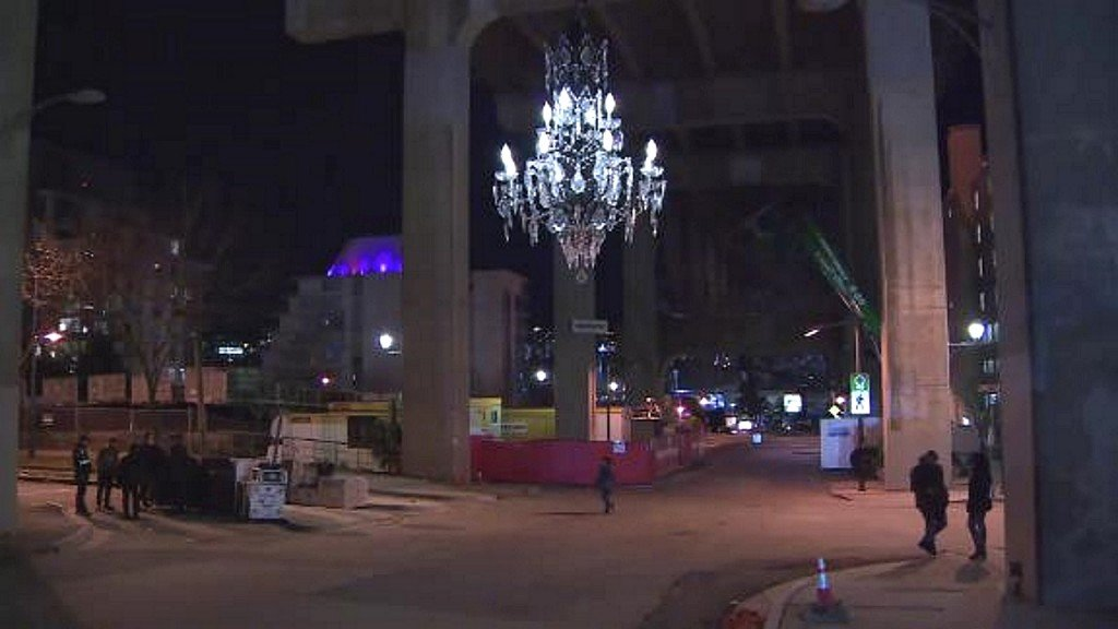 $4.8M chandelier hung under city bridge