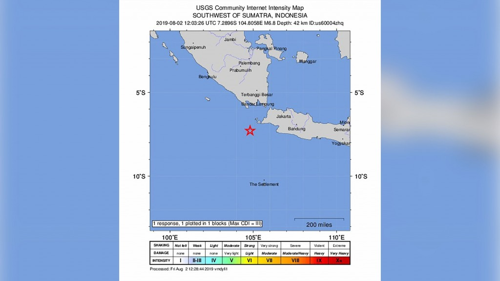 Strong earthquake strikes west coast of Indonesia