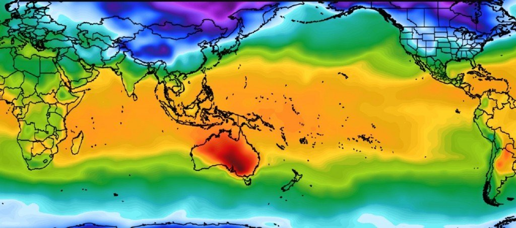 Heat-choked Australia sticks out like sore thumb in map of world weather