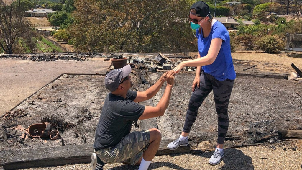 She found her ring in the ashes of their home, so he proposed all over again