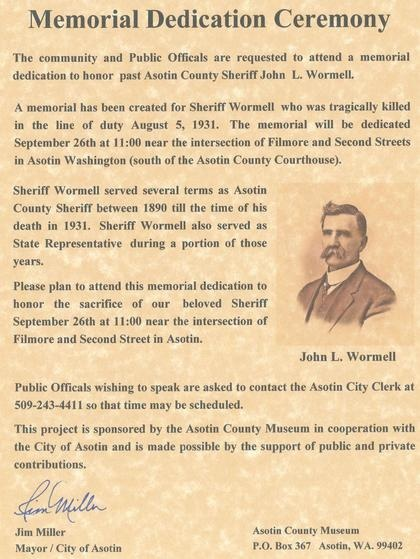 Asotin mayor sends out public invitation to former Sheriff's memorial dedication