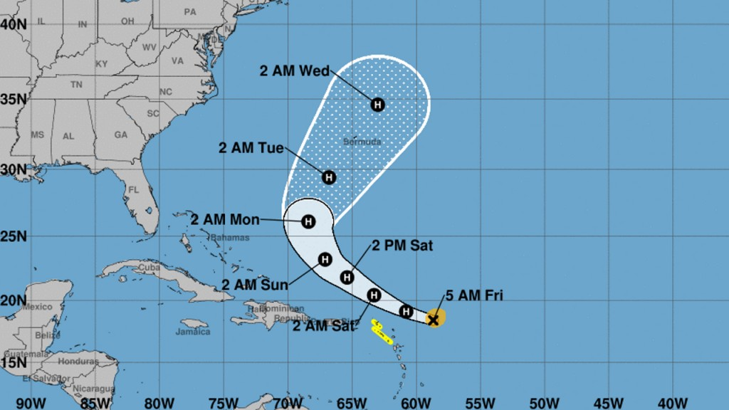 Hurricane Jerry now Category 2,  heads north of Leeward Islands
