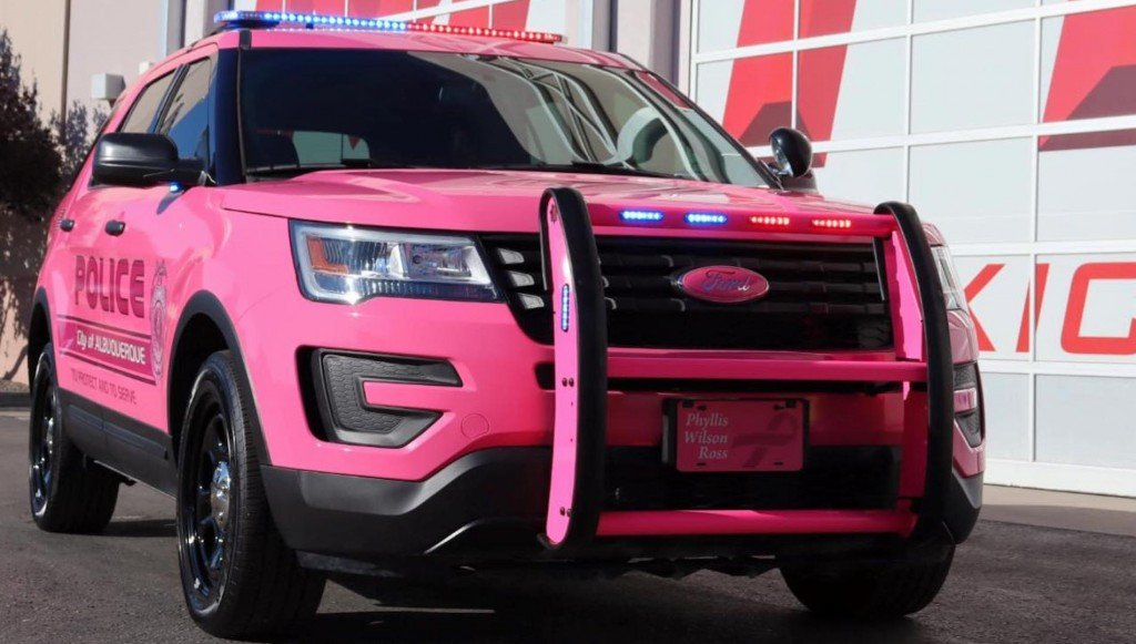 Albuquerque patrol car painted pink for Breast Cancer Awareness Month