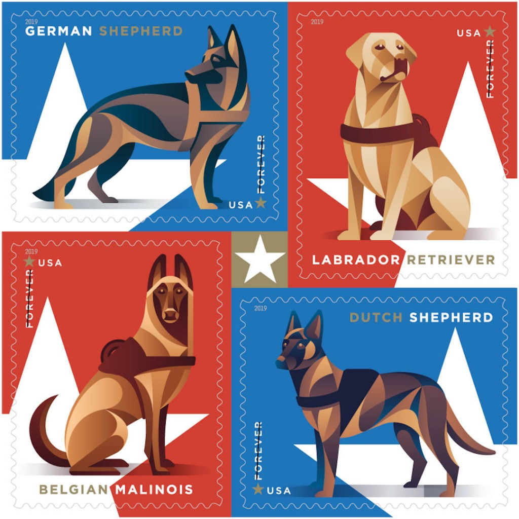 Latest US postage stamps honor military dogs