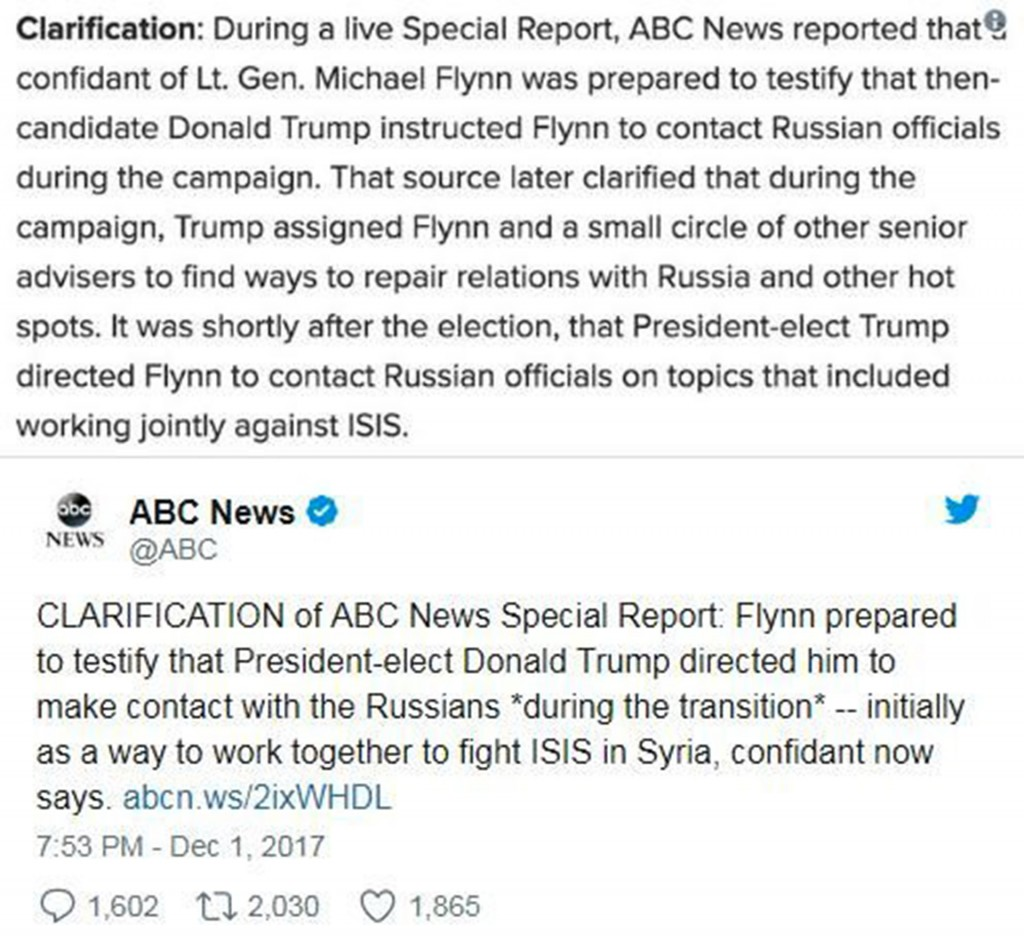 ABC News corrects bombshell Flynn report