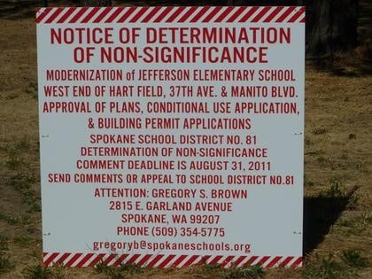 Hart Field Notice of Determination of Non-Significance Sign