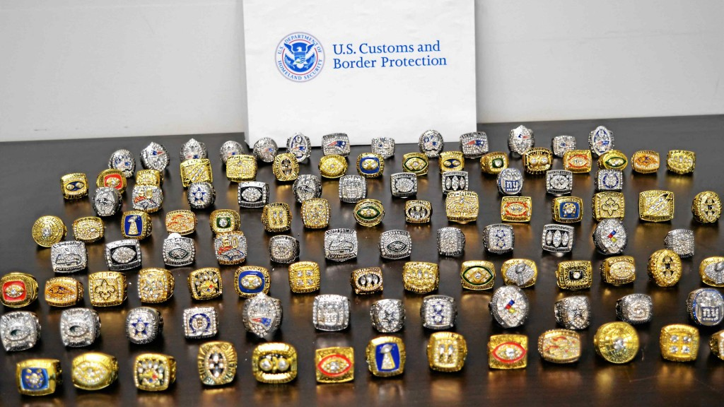 Customs officials seize 108 phony Super Bowl rings