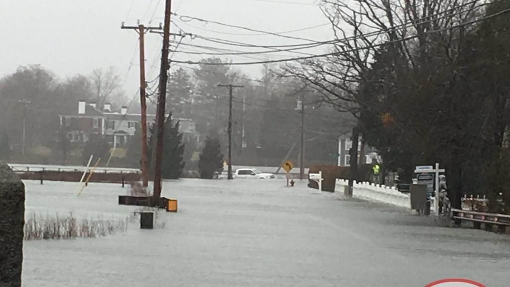 Boston streets flooding as second nor'easter in two months pounds city