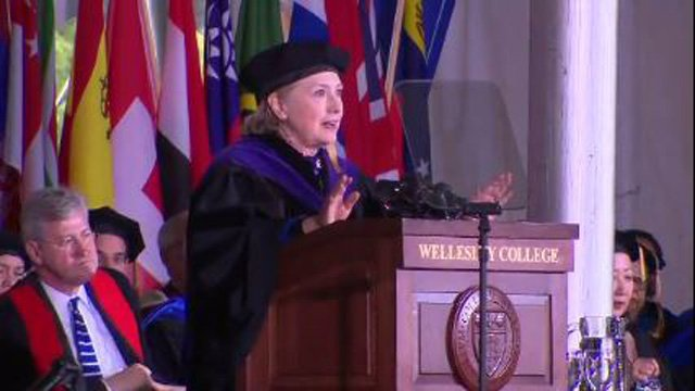 Clinton compares Trump to Nixon in fiery speech at alma mater
