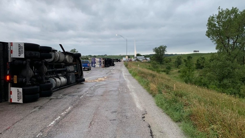 Severe storm winds flip 4 semis on I-80 in Iowa