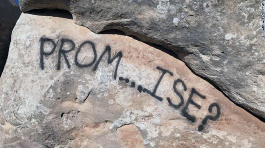 Promposal vandalizes a national monument