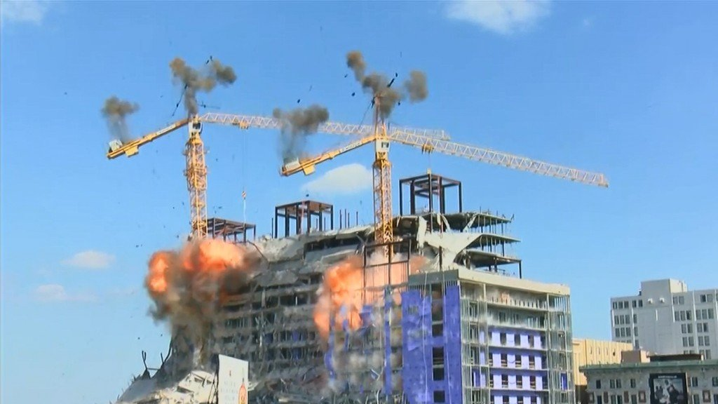 Caught on camera: Hard Rock hotel cranes imploded