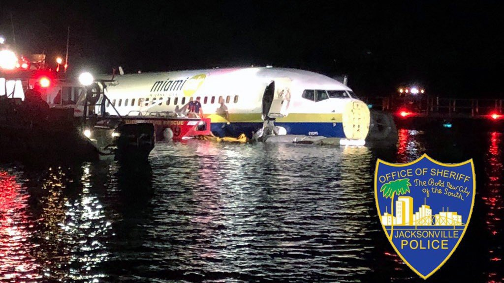 FAA: Private charter jet from Guantanamo Bay goes into river in Florida