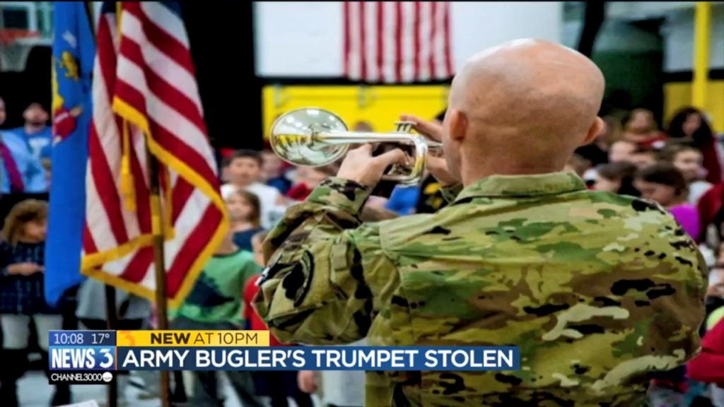 Army bugler's trumpet stolen from truck