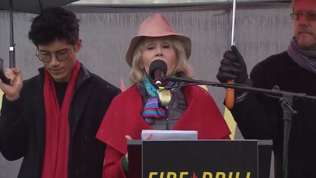 Jane Fonda speaks at weekly climate protest