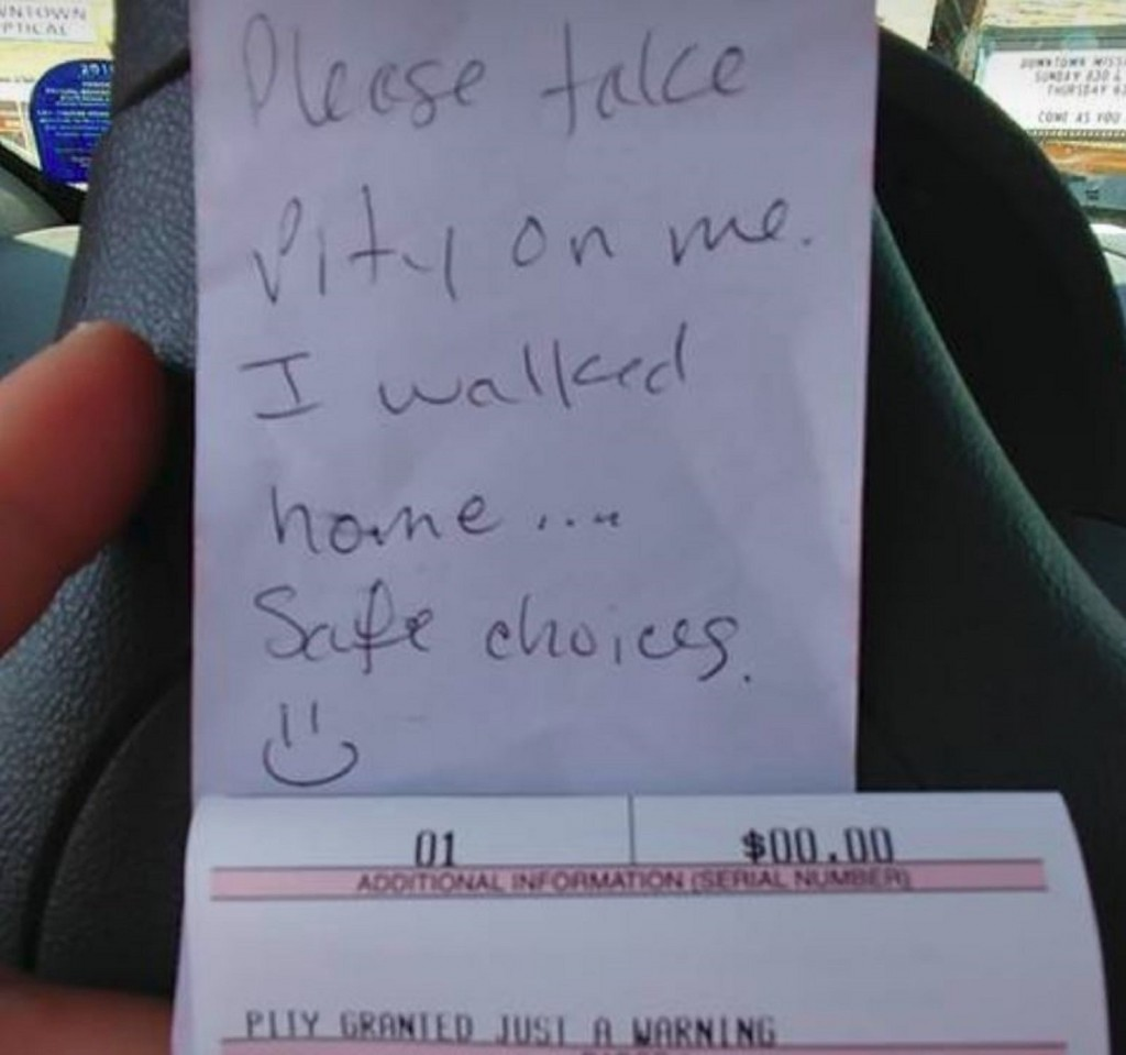 Note gets driver out of parking ticket