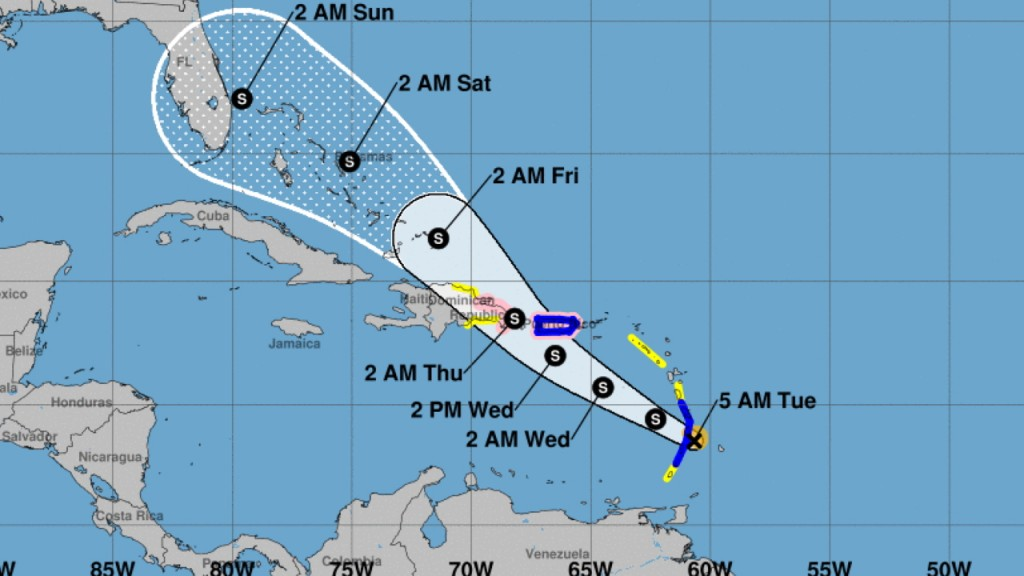 Puerto Rico under tropical storm warning as Dorian approaches