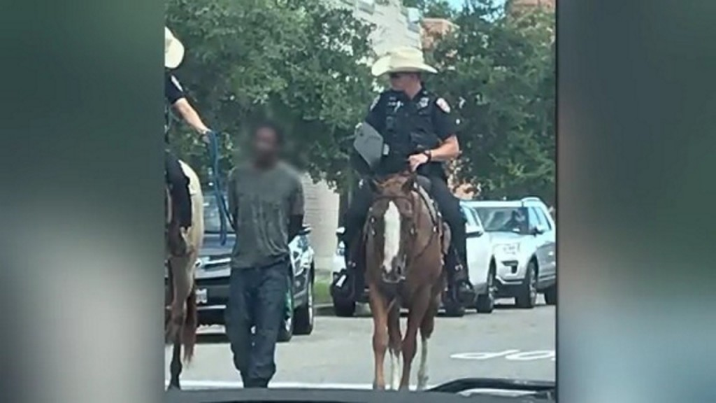 Unions defend mounted officers who escorted handcuffed man on 'line'