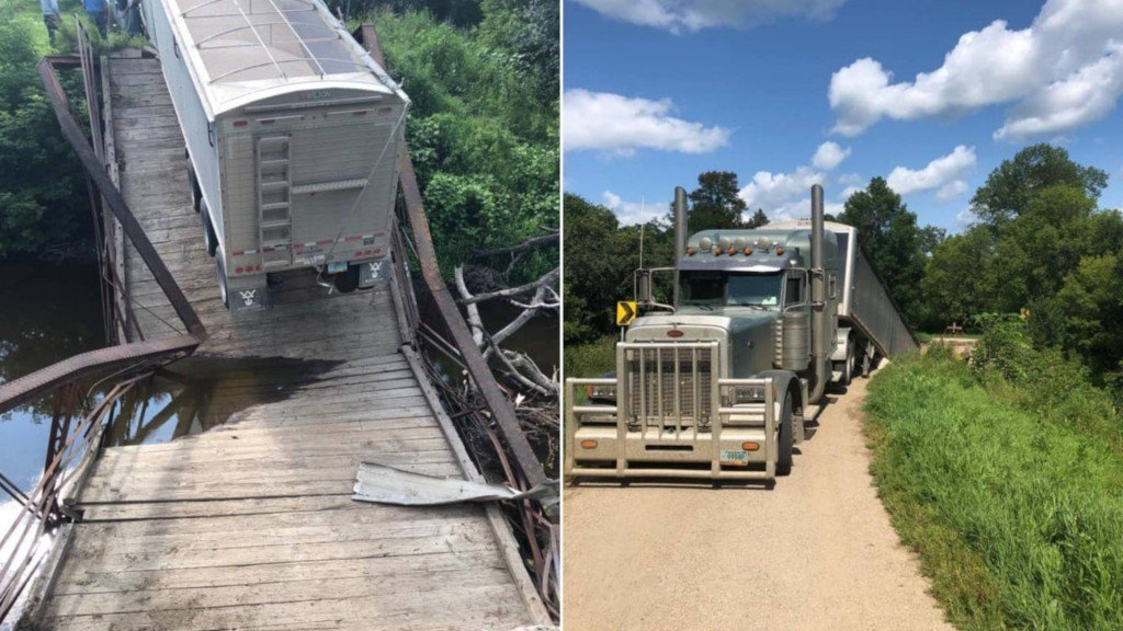 Historic bridge collapses under trailer carrying 42 tons of beans