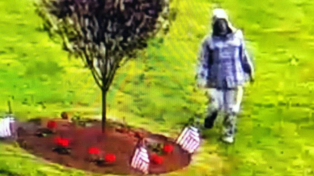 Vietnam vets memorial is vandalized with a swastika