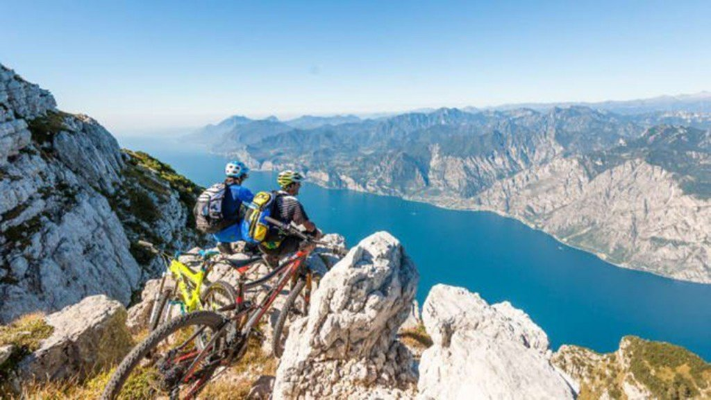 Cycle path floats above Lake Garda in Italy
