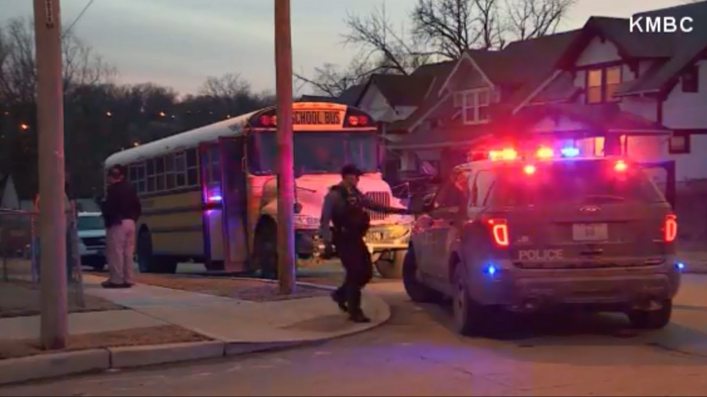Bus with students caught in crossfire in Kansas City