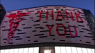 NY: THANK YOU SIGN PAYS TRIBUTE TO MEDICAL WORKERS