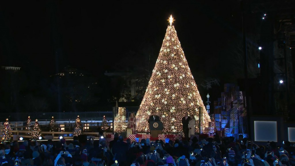 President, first lady light national Christmas tree
