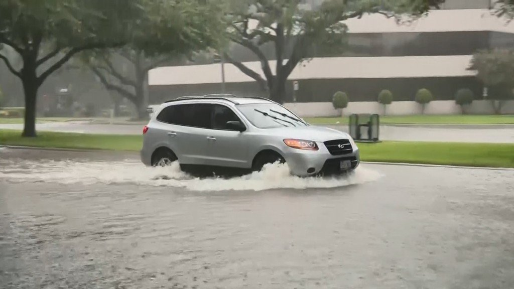 Houston streets flood after heavy rains, sparking memories of Harvey