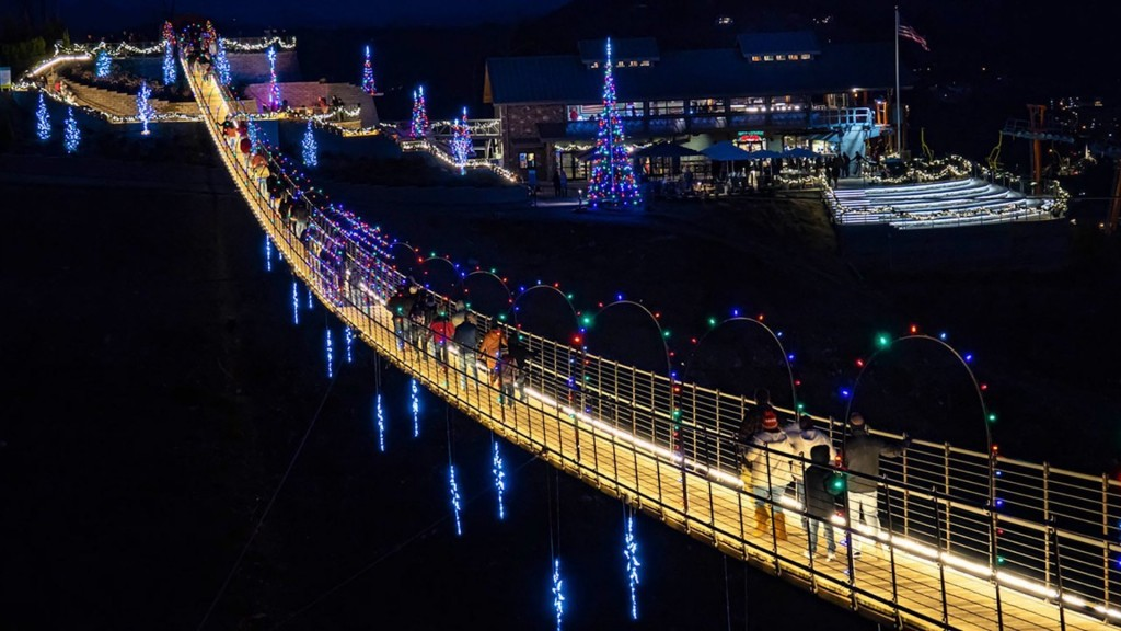 Tennessee suspension bridge in North America lit up for holidays