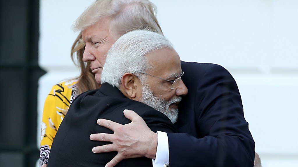 Trump, Modi reaffirm Indian-US relations with a hug