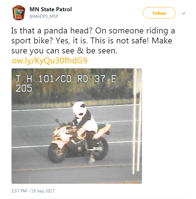 Panda-suited biker ticketed in Minnesota